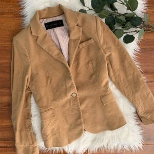 Zara Basic Blazer with faux leather elbow detail